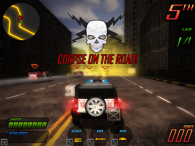 3D combat racing game. After World War III abandoned cities are used as race tracks for a new kind of popular entertainment - Apocalypse Motor Racing.