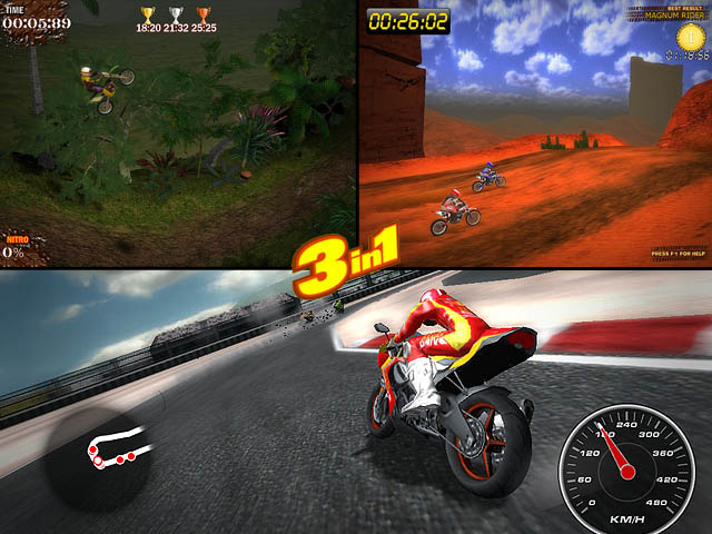 A set of three 3d motorcycle race games - Desert Moto Racing, Trial Motorbikes and Superbike Racers. Try to become the winnner in all these games, unlock all ooportunities and prove that you are the best motorcycle racer. We know that you definitely