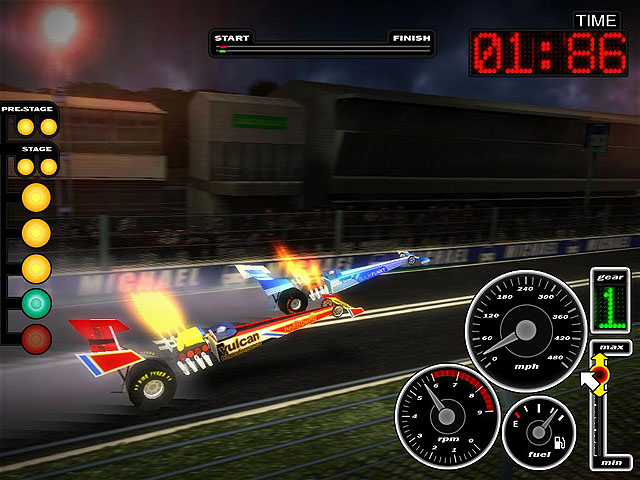 3D drag racing game.